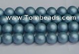 CSB1710 15.5 inches 4mm round matte shell pearl beads wholesale