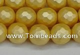 CSB1814 15.5 inches 12mm faceetd round matte shell pearl beads
