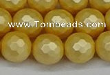 CSB1815 15.5 inches 14mm faceetd round matte shell pearl beads