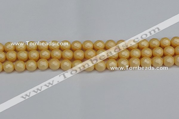 CSB1823 15.5 inches 10mm faceetd round matte shell pearl beads