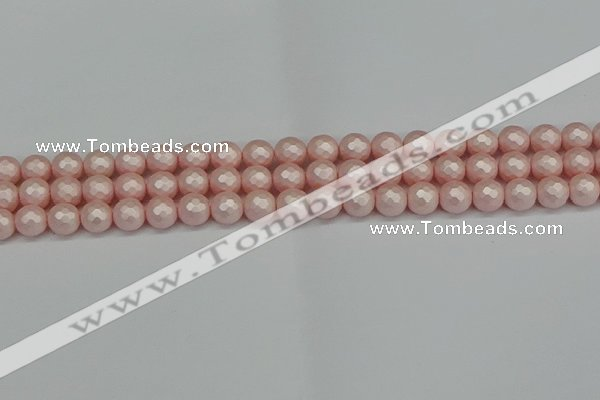 CSB1831 15.5 inches 6mm faceetd round matte shell pearl beads