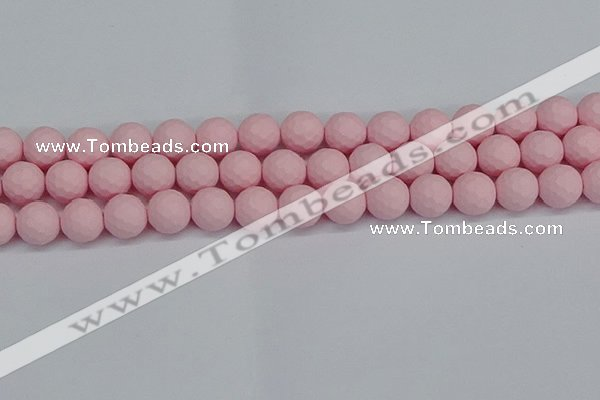 CSB1843 15.5 inches 10mm faceetd round matte shell pearl beads