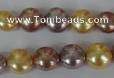 CSB186 15.5 inches 12mm flat round mixed color shell pearl beads