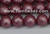 CSB1872 15.5 inches 8mm faceetd round matte shell pearl beads