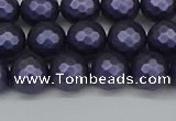 CSB1892 15.5 inches 8mm faceted round matte shell pearl beads