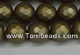 CSB1913 15.5 inches 10mm faceted round matte shell pearl beads