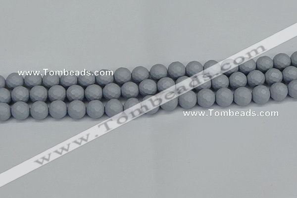 CSB1933 15.5 inches 10mm faceted round matte shell pearl beads