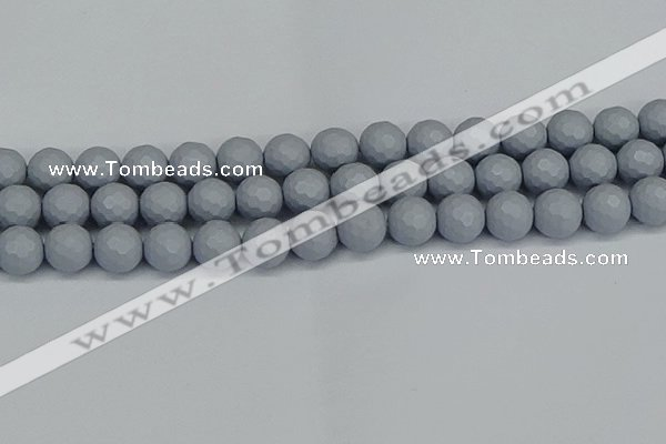 CSB1934 15.5 inches 12mm faceted round matte shell pearl beads