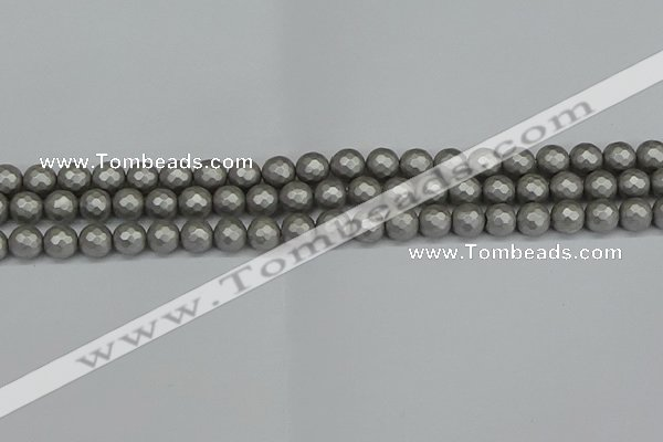 CSB1951 15.5 inches 6mm faceted round matte shell pearl beads