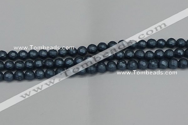 CSB1972 15.5 inches 8mm faceted round matte shell pearl beads