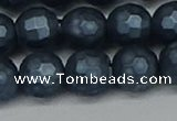 CSB1975 15.5 inches 14mm faceted round matte shell pearl beads