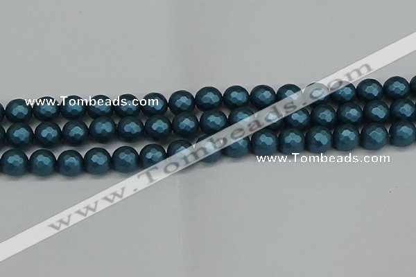 CSB1982 15.5 inches 8mm faceted round matte shell pearl beads