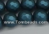CSB1985 15.5 inches 14mm faceted round matte shell pearl beads