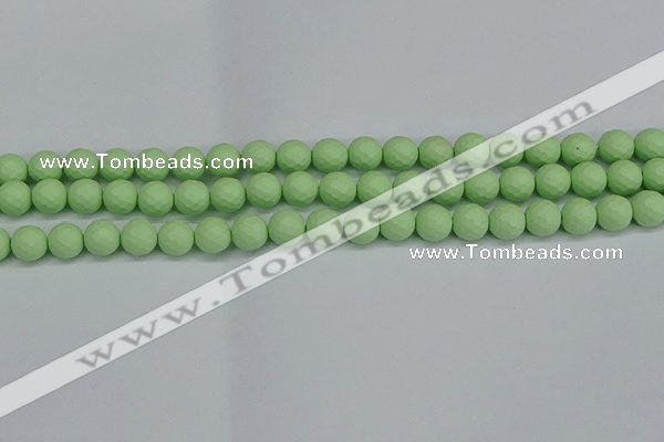 CSB1991 15.5 inches 6mm faceted round matte shell pearl beads