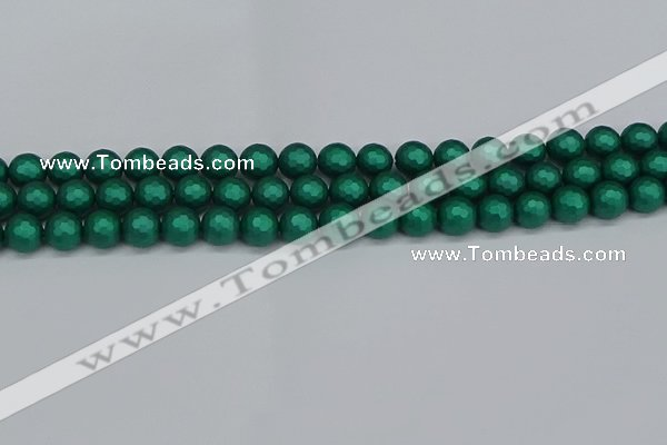 CSB2001 15.5 inches 6mm faceted round matte shell pearl beads