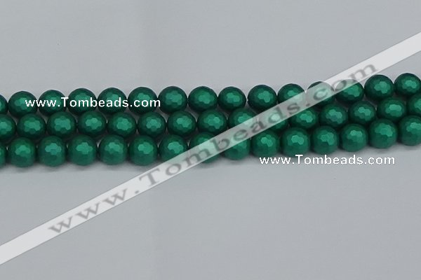 CSB2003 15.5 inches 10mm faceted round matte shell pearl beads
