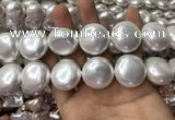 CSB2131 15.5 inches 25mm flat round shell pearl beads wholesale