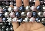 CSB2153 15.5 inches 16mm flat round mixed shell pearl beads