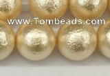 CSB2225 15.5 inches 14mm round wrinkled shell pearl beads wholesale