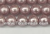 CSB2240 15.5 inches 4mm round wrinkled shell pearl beads wholesale