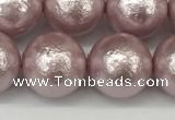 CSB2245 15.5 inches 14mm round wrinkled shell pearl beads wholesale