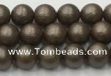 CSB2510 15.5 inches 4mm round matte wrinkled shell pearl beads