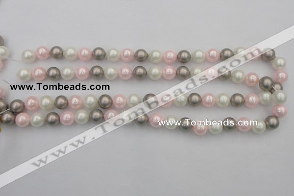 CSB335 15.5 inches 10mm round mixed color shell pearl beads