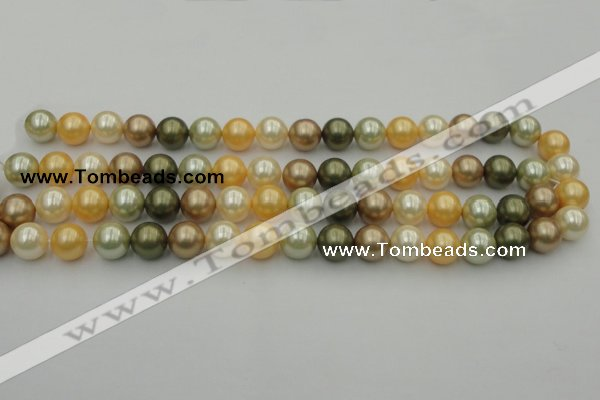 CSB360 15.5 inches 12mm round mixed color shell pearl beads