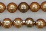 CSB387 15.5 inches 14mm round mixed color shell pearl beads