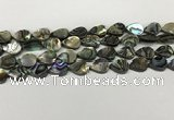 CSB4136 15.5 inches 10*14mm flat teardrop abalone shell beads