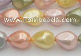 CSB416 12*15.5mm faceted teardrop mixed color shell pearl beads
