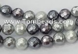 CSB460 15.5 inches 8mm faceted round mixed color shell pearl beads