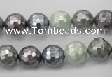 CSB461 15.5 inches 10mm faceted round mixed color shell pearl beads