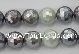 CSB462 15.5 inches 12mm faceted round mixed color shell pearl beads