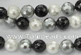 CSB471 15.5 inches 10mm faceted round mixed color shell pearl beads