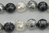 CSB473 15.5 inches 14mm faceted round mixed color shell pearl beads
