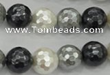 CSB474 15.5 inches 16mm faceted round mixed color shell pearl beads