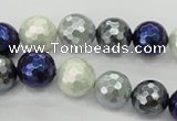 CSB482 15.5 inches 12mm faceted round mixed color shell pearl beads
