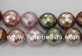 CSB502 15.5 inches 12mm faceted round mixed color shell pearl beads