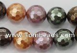 CSB513 15.5 inches 14mm faceted round mixed color shell pearl beads