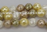 CSB521 15.5 inches 10mm faceted round mixed color shell pearl beads
