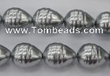 CSB550 15.5 inches 12*15mm whorl teardrop shell pearl beads