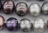 CSB714 15.5 inches 16*19mm oval mixed color shell pearl beads