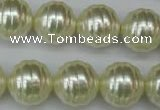 CSB896 15.5 inches 16mm whorl round shell pearl beads wholesale
