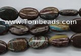 CSD45 15.5 inches 10*14mm oval dyed stripe jasper gemstone beads