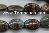 CSD46 15.5 inches 13*18mm oval dyed stripe jasper gemstone beads