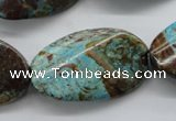 CSD62 15.5 inches 20*35mm twisted oval dyed stripe jasper gemstone beads