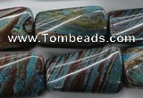 CSD64 15.5 inches 18*30mm twisted rectangle dyed stripe jasper beads
