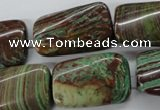 CSD87 15.5 inches 15*25mm twisted rectangle dyed stripe jasper beads