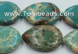 CSE14 15.5 inches 22*30mm flat teardrop natural sea sediment jasper beads